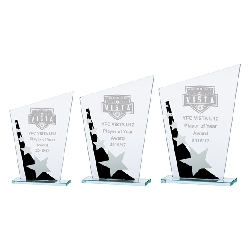 Mega Star Jade Glass Award Black & Silver