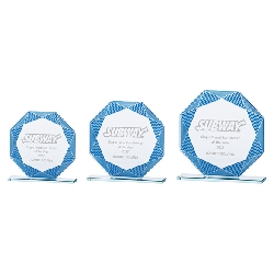 Jade Vortex Glass Award Blue & Silver