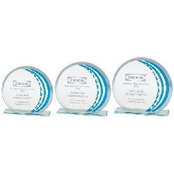 Galactic Mirror Glass Award Blue & Silver