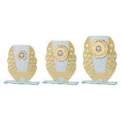 Tri-Star Glitter Glass Award Gold & Silver