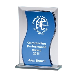 Azzuri Wave Mirror Glass Award Blue & Silver
