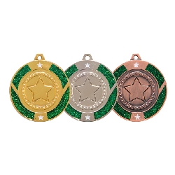 Glitter Star Medal Green