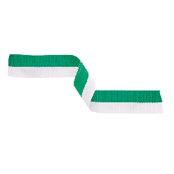 Medal Ribbon Green & White 395x22mm