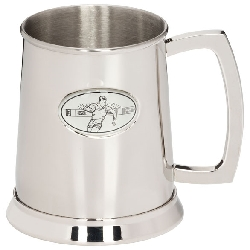 Stadia Rugby Polished Steel Tankard   1pt